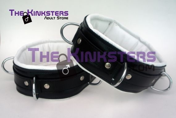 Leather Padded Thigh Restraints Black with White Interior