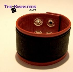 Leather Wrist Band Black & Red