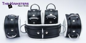 Black & White Leather Padded Restraint Set (5 Piece Set)