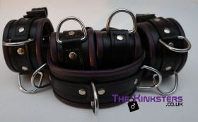 Black & Yellow Leather Padded Restraint Set (4, 5 or 7 Piece Set)