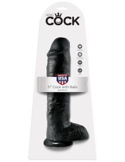 "King Cock 11"" Black with Balls"