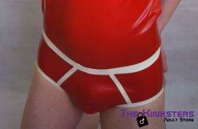 Rubber Briefs Red & White