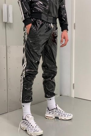 Mr Riegillio PVC Tracksuit Joggers with White Stripes