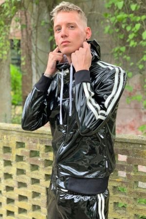 Mr Riegillio PVC Tracksuit Jacket with White Stripes