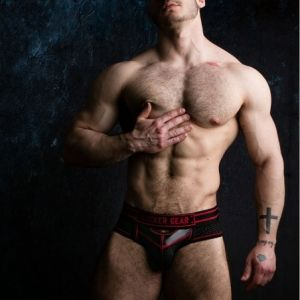 Locker Gear Bottomless Brief with Front Opening Red
