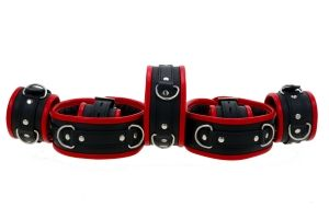 Black & Red Leather Padded Restraint Set (4 or 7 Piece Set)